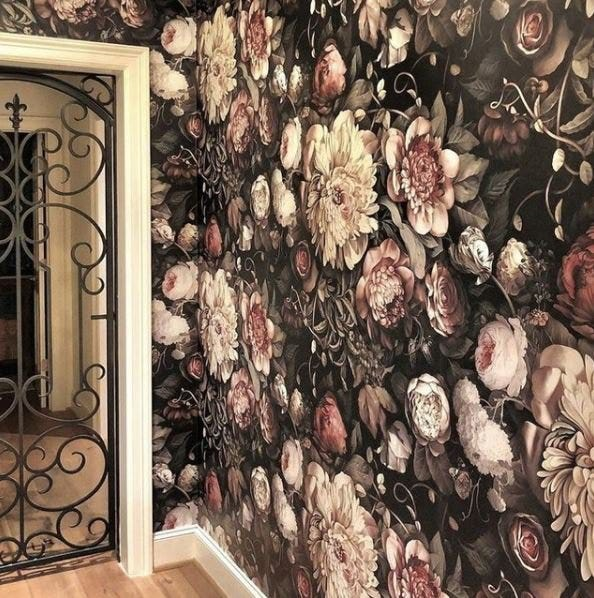 Dark Floral Ii Floral Wallpaper